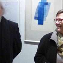 K. Hoell, Stadt Duisburg Kulturbetriebe und Gerd Losemann, vor Arbeit CAGrundei in der Galerie DU ART
