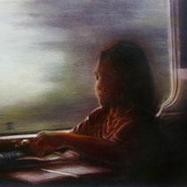 reflet dans la vitre du TGV - acrylique sur bois - 40x61 cm - 2013 - M - Pavlïn