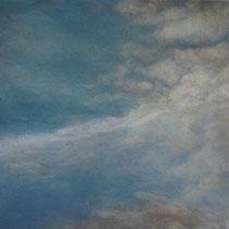 nuages et traces d'avion - acrylique sur bois - 30,5x45 cm - 2012 - M - Pavlïn