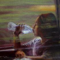 reflet dans la vitre du TGV - acrylique sur bois - 24x34 cm - 2013 - M - Pavlïn