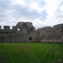nördliche Ringmauer mit Gebäuderesten