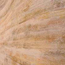 Parete a cocciopesto e polveri metalliche; Fiumicino, 2009