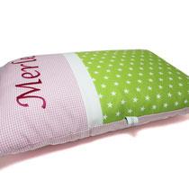 Kissen mit Name grün rosa