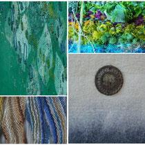 """KRAPP WIE GOLD Links oben: """"Grüne Quelle"""" (Detail) von Nadja Hormisch.  Rechts oben: """"In Memoriam"""" (Detail) von Birgit Rössler.  Links unten: """"Spülsaum"""" (Detail) von Barbara May.  Rechts unten: """"Meditation II"""" (Detail) von Beate Lambrecht"""
