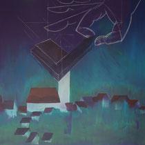Acryl auf Leinwand: Die Kirche bleibt im Dorf I Format: 100 x 100 I Preis: 800,- €