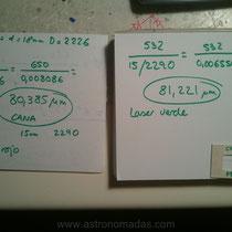 Recalculando. Pelo de cana con ambos resultados (láser verde y rojo). A penas hay variación, la resolución e la regla no es muy fina sobre todo porque el verde deslumbra mucho y es aproximado.