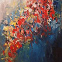 Falling Flowers  Öl_Lwd.70x100cm