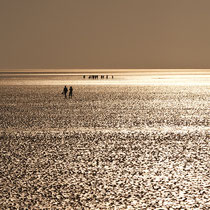 Wattenmeer ohne Wasser im Sonnenuntergang