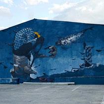 Wandmalerei am Hafen
