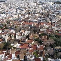 Blick über Anafiotika, Plaka und bis zum Lykabettos-Hügel