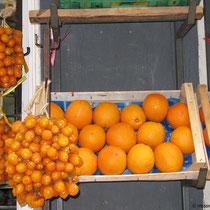 Stilleben mit Tomaten und Orangen