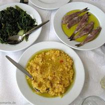 Chorta, Sardines, Fava