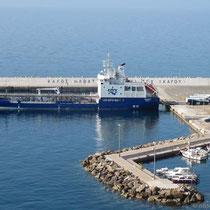 Tankschiff in Agios Kirykos