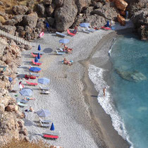 Kreta: Der Vrissi-Strand von Chora Sfakion