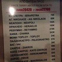 Taxipreise ab Sitia - kein Schnäppchen