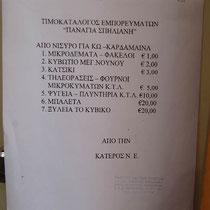 """Fahrpreise auf der """"Panagia Spiliani""""  eine Ziege kostet 3 Euro"""
