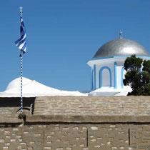 Aber die griechische Flagge weht!