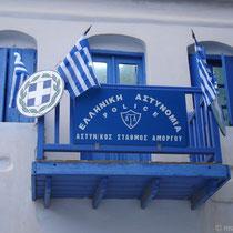 Amorgos: Polizei in Chora - Stilleben in Blau