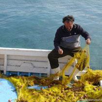 Amorgos: Fischer in Ormos Kalotaritissa