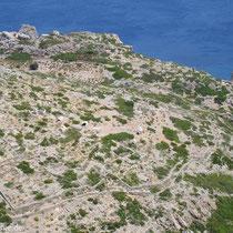 Saria: Blick auf die Ruinen von Palatia von Agios Zacharias aus