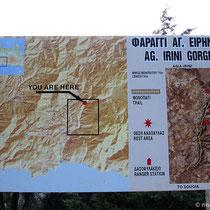 Schild zu Beginn der Agia-Irini-Schlucht