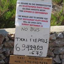 Keine Taverne, kein Bus