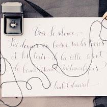 Calligraphie pour Eléna Fleutiaux, photographe de mariage