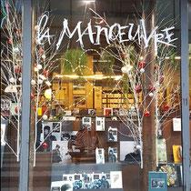 Logo pour la librairie La Manœuvre, rue de la Roquette à Paris