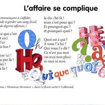 """Illustration calligraphique pour un poème de Jean tardieu, manuel scolaire """"L'Île aux mots CM1"""", Nathan"""