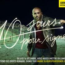 """Lettrage réalisé pour la campagne """"10 jours pour signer"""" d'Amnesty International, pour TBWA"""
