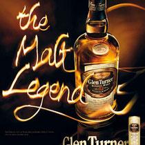 Lettrage de feu pour la campagne Glen Turner, pour TBWA