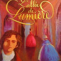 """Calligraphie romantique et dorée à chaud, du titre """"L'allée des lumières"""" d'Annie Pietri, illustré par Nathalie Novi, Bayard"""