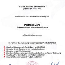Zertifikat Hubwagenlizenz
