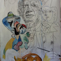Hommage à Picasso acryl sur kraft et bois 190 X 120 collection de l'artiste