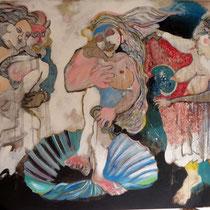 Hommage à Botticelli  technique mixte sur bois 180 X 125