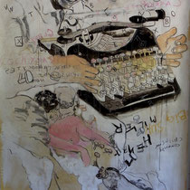 Hommage à Henry Miller techn.mixte sur kraft et bois 195 X 120