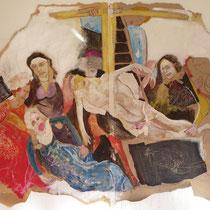 Hommage à Roger Van der Weyden (descente de croix - acryl sutr toile 140 X 100