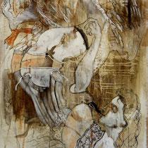 Leda et le cygne d'après Cornelis BOS acryl sur kraft sur bois 195 X 120