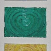 Titel: 7 Chakren, je 18 x 13 cm, Öl, Leinwand, Gesamt 25 €