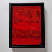 Titel: Sky on fire, Oil on Carton, 24 x18 cm. Oktober 2020. Prijs € 120,-