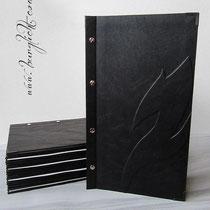 Chef`s Table-Karte - Menü- und Getränkekarte, Format 19cm x 34cm, Bezug Lederimitat schwarz