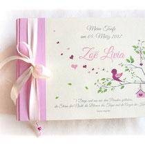 Fotoalbum Taufe creme, rosa, grün mit Titel, Namen, Spruch und Grafik Vogel im Baum