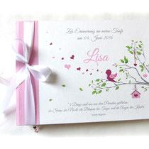 Fotoalbum Taufe rosa, weiß, grün, grau; bedruckt mit Titel, Namen, Spruch und Grafik Vogel auf Ast