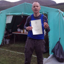 Paul with his finishing certificate