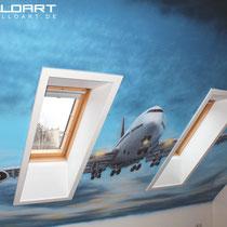 Flugzeugmotiv auf Wohnzimmerwand gemalt Raumausstattung der besonderen Art