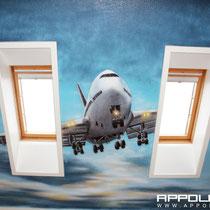 Suer Boeing im Hobbyraum gemalt in berlin Brandenburg mit Airbrushmaschine