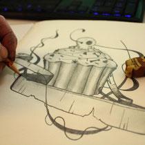 Ideenfindung mit Stift und Maker entworfen/ gezeichnet