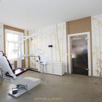 Zahnarzt Praxis neu desigt durch Raumkunst mit Wandbilder Wandgestaltung