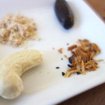 Zutaten für die Schlafpraline Tonka-Erdmandel-Blattgold