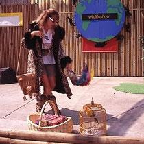 """Manche Zoos erfüllen ihren Eriehungsauftrag mit  """"Shows"""" (Theatervorführungen), die mehrmals pro Tag stattfinden und Besuchermagnete sind. Hier im Zoo von Atlanta (USA)  eine Show zum Thema """" Artenschutz""""."""
